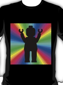 Black Minifig in front of Rainbow T-Shirt