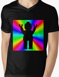 Black Minifig in front of Rainbow Mens V-Neck T-Shirt