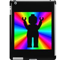 Black Minifig in front of Rainbow iPad Case/Skin