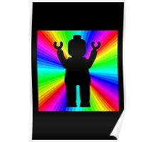 Black Minifig in front of Rainbow Poster
