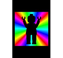 Black Minifig in front of Rainbow Photographic Print