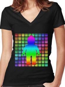 Rainbow Minifig in Front of Buttons Women's Fitted V-Neck T-Shirt