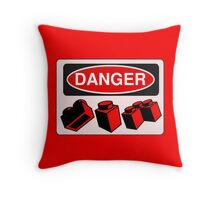 Danger Bricks Sign  Throw Pillow