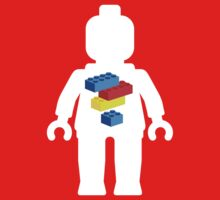 White Minifig with Bricks Logo by Customize My Minifig Kids Clothes