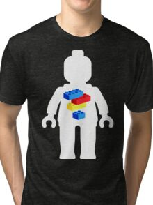 White Minifig with Bricks Logo by Customize My Minifig Tri-blend T-Shirt