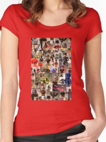 Custom Minifigure Collage  Women's Fitted Scoop T-Shirt