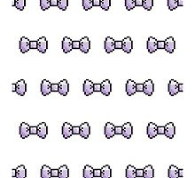 Pixel Ribbon Bow Pattern (lavender) by maximumcapacity