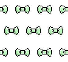 Pixel Ribbon Bow Pattern (mint) by maximumcapacity