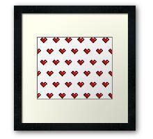 Pixel Heart Pattern Framed Print