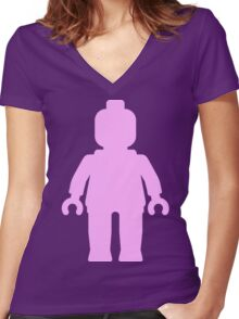 Minifig [Large Light Pink] Women's Fitted V-Neck T-Shirt