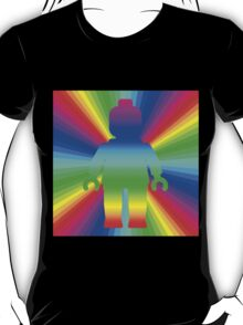 Rainbow Minifig in front of Rainbow  T-Shirt