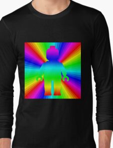Rainbow Minifig in front of Rainbow  Long Sleeve T-Shirt