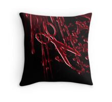 Bloody Scissors Throw Pillow
