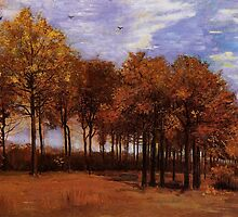Autumn Landscape, by Vincent van Gogh. Vintage fine art impressionism oil painting. by naturematters