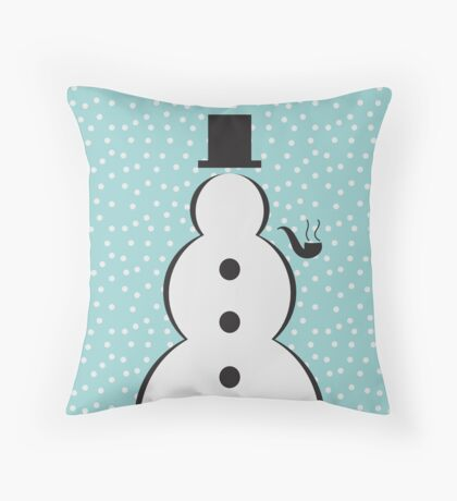 Snowman Christmas Scene Throw Pillow