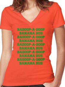 BADOOP-A-DOOP BANANA BUS Women's Fitted V-Neck T-Shirt