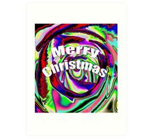 Psychedelic Merry Christmas Art Print