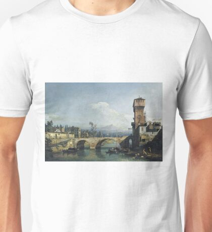 Bernardo Bellotto - Capriccio With A River And Bridge Unisex T-Shirt