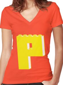 THE LETTER P, by Customize My Minifig Women's Fitted V-Neck T-Shirt