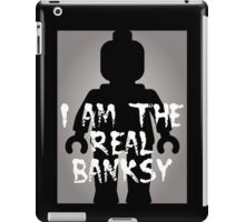 """Black Minifig with """"I am the Real Banksy"""" slogan [Large] by Customize My Minifig iPad Case/Skin"""
