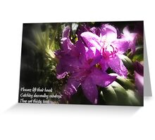 rhododendron with haiku Greeting Card