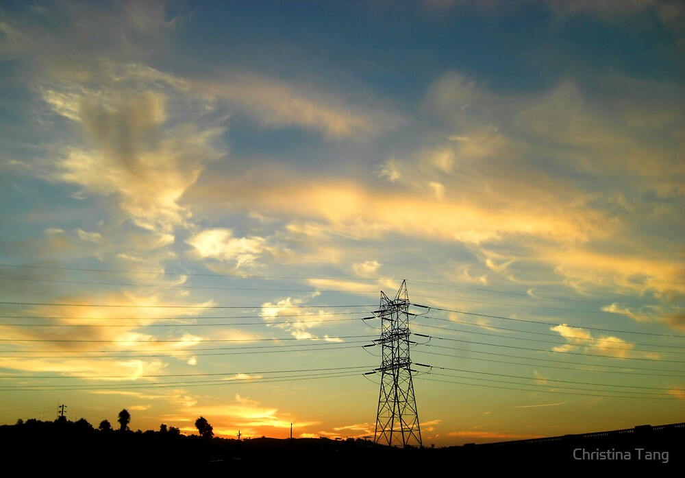 Sunrise and Power Lines by Christina Tang