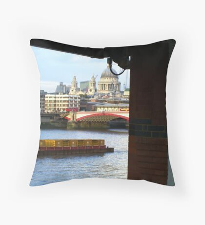 Across The River Thames Throw Pillow