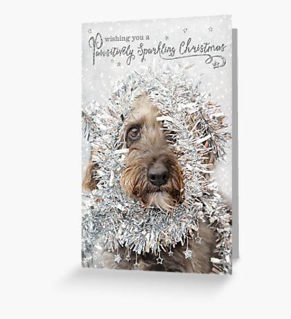 Humorous Christmas Card - Dog Wearing Tinsel Greeting Card