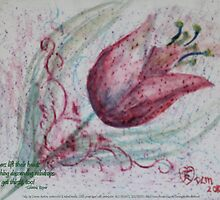 red tulip with haiku by PoemsProseArt
