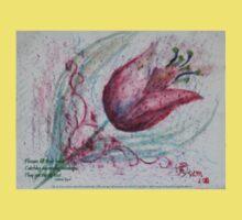 red tulip with haiku Kids Tee