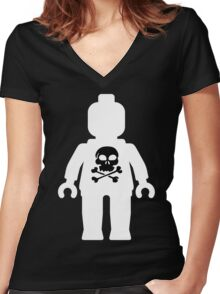 Minifig with Skull  Women's Fitted V-Neck T-Shirt