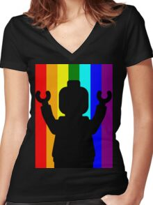Minifig Pride Women's Fitted V-Neck T-Shirt