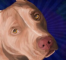 Red Nose Pit Bull Painted on Blue Background by ibadishi