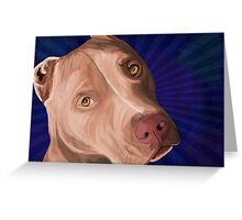 Red Nose Pit Bull Painted on Blue Background Greeting Card