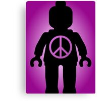 Black Minifig with Peace Symbol, by Customize My Minifig Canvas Print