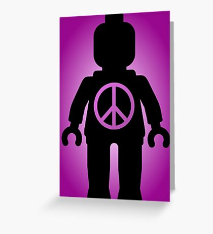 Black Minifig with Peace Symbol, by Customize My Minifig Greeting Card