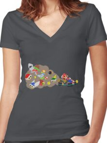 Mario Kart Item fury  Women's Fitted V-Neck T-Shirt
