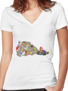 Mario Kart Item fury  Women's Fitted V-Neck T-Shirt