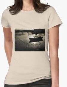Reflection of a small dinghy dory boat Womens Fitted T-Shirt