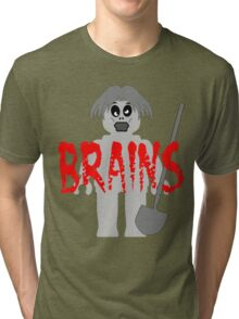 "Zombie Minifig ""BRAINS"", by Customize My Minifig Tri-blend T-Shirt"