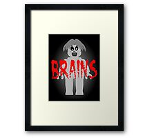 """Zombie Minifig """"BRAINS"""", by Customize My Minifig Framed Print"""