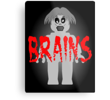 """Zombie Minifig """"BRAINS"""", by Customize My Minifig Metal Print"""