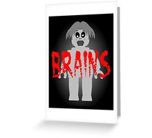 """Zombie Minifig """"BRAINS"""", by Customize My Minifig Greeting Card"""