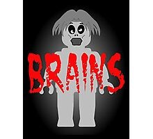 "Zombie Minifig ""BRAINS"", by Customize My Minifig Photographic Print"