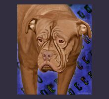 Dogue de Bordeaux on Blue Urban Background Unisex T-Shirt