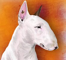 Bull Terrier Painting on Orange Background by ibadishi