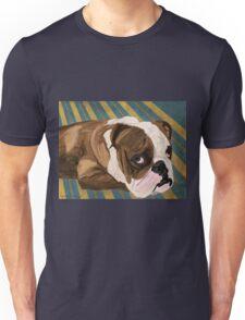 Brown and White Bulldog Lying, Blue & Yellow Back Unisex T-Shirt