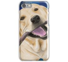 Blond Labrador Smiling with Joy, Chewing a Stick iPhone Case/Skin