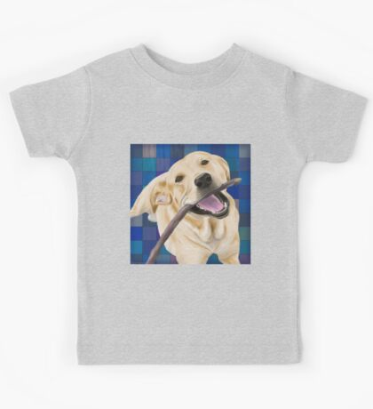 Blond Labrador Smiling with Joy, Chewing a Stick Kids Tee
