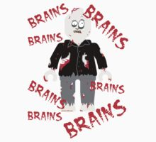A LOT OF BRAINS - ZOMBIE MINIFIG by ChilleeW